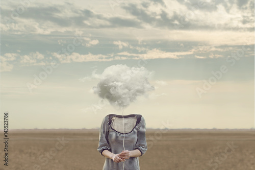 Fotografie, Obraz  woman's head Replaced by a soft cloud