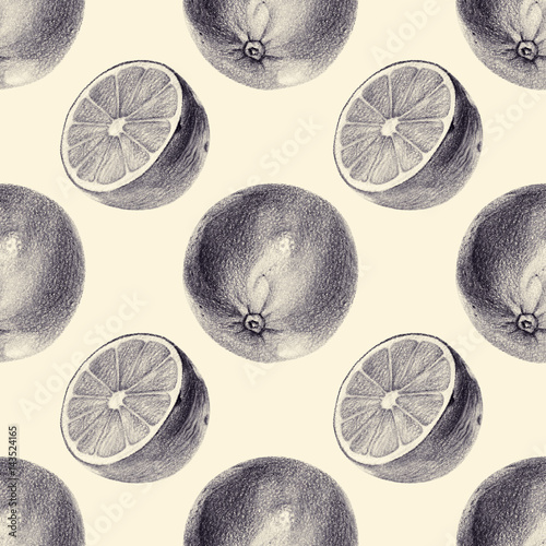 Seamless pattern with limes drawn by hand with pencil. Healthy vegan food. Fresh tasty fruits painted from nature. Tinted black and white. - 143524165