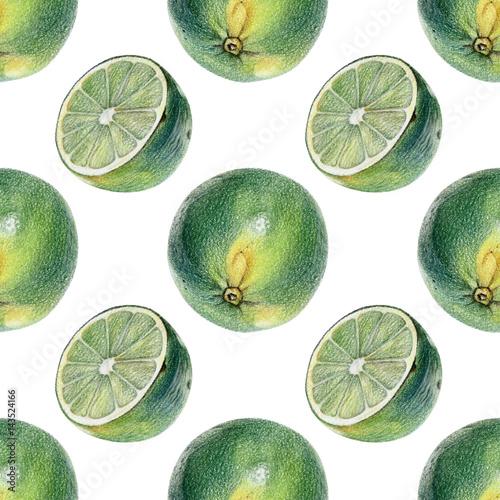 wzor-z-zielonymi-limonkami-reczenie-rysowane