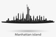 New York city skyline vector silhouette. Manhattan island. Statue of Liberty illustration.