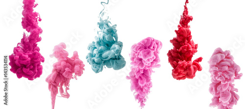Türaufkleber Rauch set of colorful ink isolated on white background. red, pink, blue drop swirling under water. Cloud of ink in water.