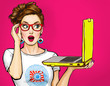 canvas print picture - Girl with laptop in the hand in comic style. Woman with notebook.Girl in glasses. Hipster girl. Digital advertisement.