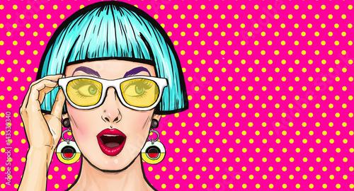 Amazed Pop Art Girl In Glasses Party InvitationBirthday CardComic Woman