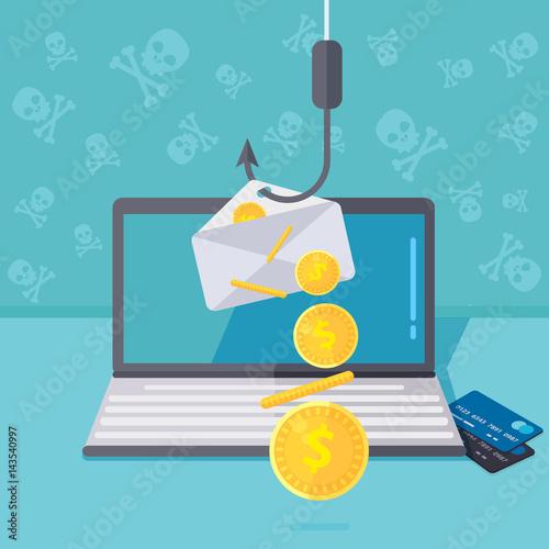 Fotografía  Phishing via internet vector concept illustration