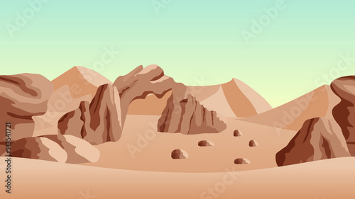 desert-landscape-background-with-sand-dunes-and-ancient-ruines