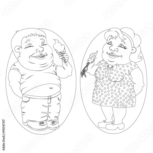 Fat Man And Woman Eating Ice Cream And Carrots White And Black