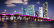 canvas print picture - Miami Downtown Skyline behind MacArthur Causeway