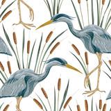 Wzór z ptakiem czapli i sitowia. Bagno florę i faunę. Ręka starodawny wektor ilustracja w stylu przypominającym akwarele - 143549553