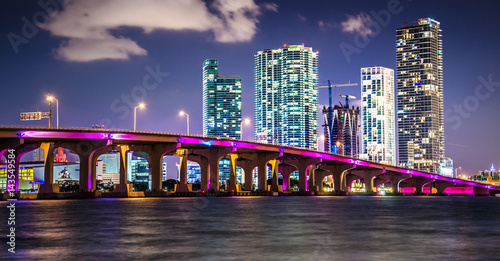 Fotografie, Tablou  Miami Downtown Skyline behind MacArthur Causeway