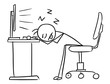 Vector Stick Man Cartoon of Man Sleeping with Head on the Office Table Tired and Overworked