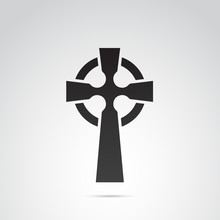 Celtic Cross Vector Icon.