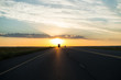 canvas print picture - Driving into the Sunset on a Highway, Free State, South Africa