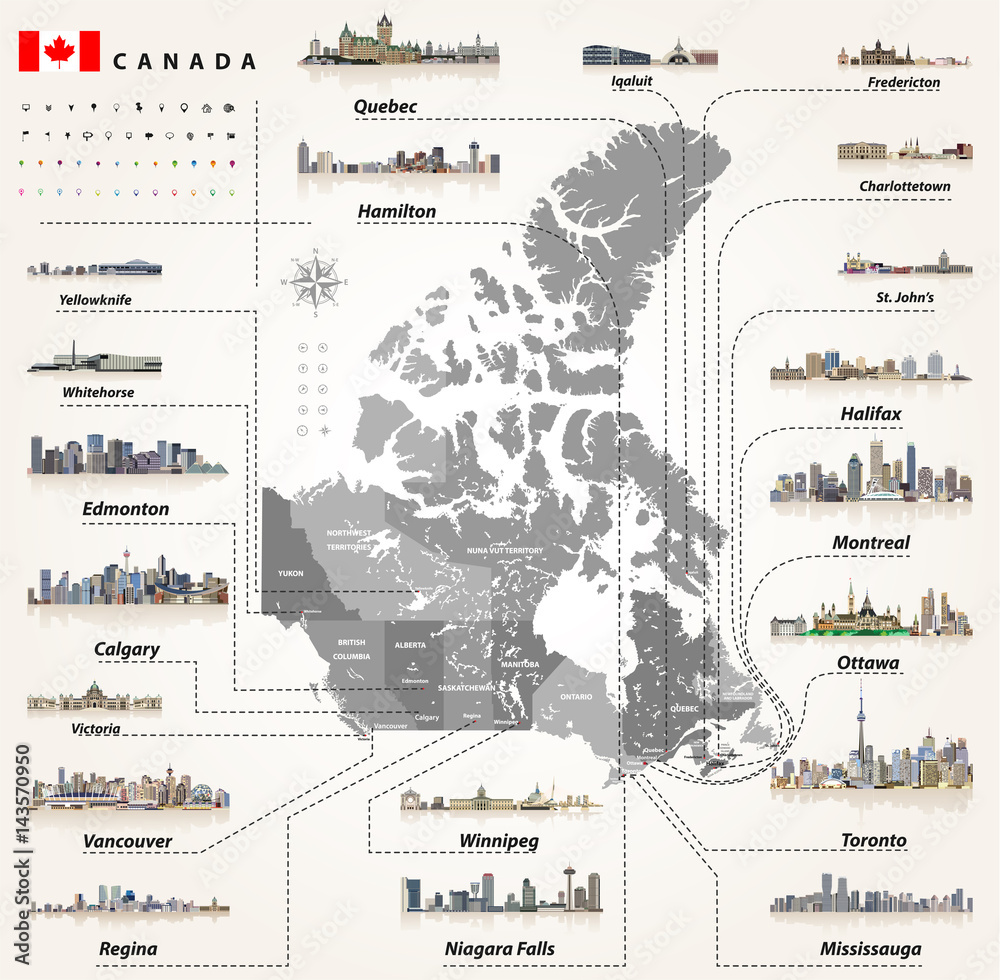 vector map of provinces and territories of Canada with largest ... on