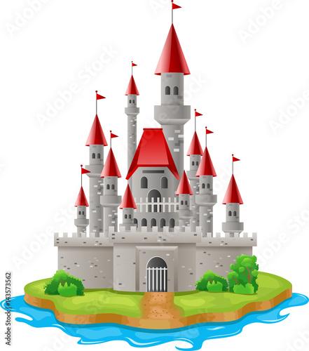 Fototapeta Illustration castles on the islands Vector illustration