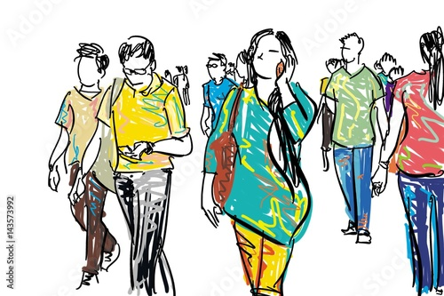 crowd walking cartoon sketch