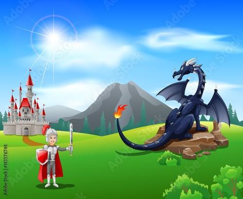 Plakat Rycerz kreskówka z zaciętej smoka. Ilustracji wektorowych