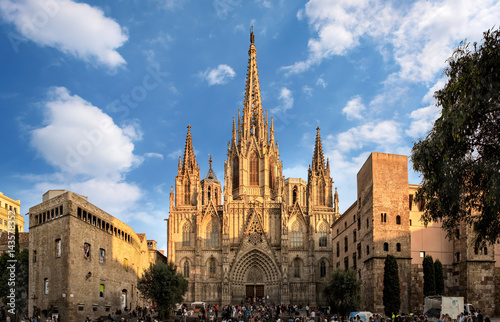 Fotoposter Barcelona Barcelona, Spain - September 25, 2015: Cathedral of the Holy Cross and Saint Eulalia in Barcelona, Spain at sunset. Unidentified people present on picture.