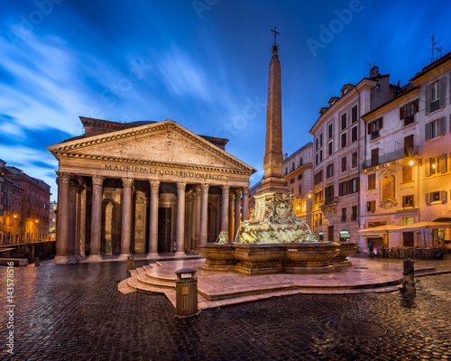 Poster Artistique Piazza della Rotonda and Pantheon in the Morning, Rome, Italy