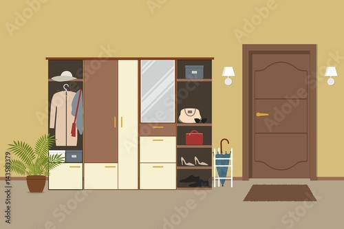 Fototapeta Entrance hall in the apartment. There is a cabinet with things, an umbrella, a flower in a pot and other objects on the door background in the picture. Vector flat illustration. obraz na płótnie