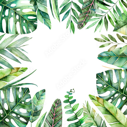 Wall Murals Floral Colorful watercolor frame border with colorful tropical leaves. Tropical forest collection.Perfect for wedding,frame,quotes,pattern,greeting card,logo,invitations,lettering etc