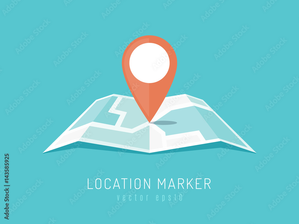 Fototapety, obrazy: Orange location marker on city map vector illustration in flat style