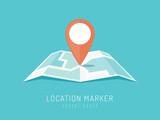 Orange location marker on city map vector illustration in flat style
