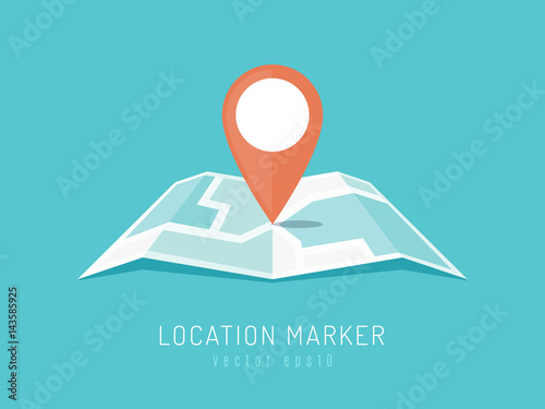 Fototapeta Orange location marker on city map vector illustration in flat style