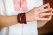 girl with beautiful jewelry on a hand, female costume jewelry, gifts to girls
