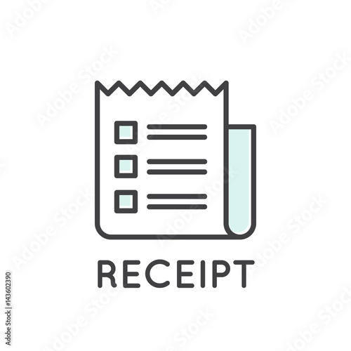vector icon style illustration of receipt paper invoice isolated