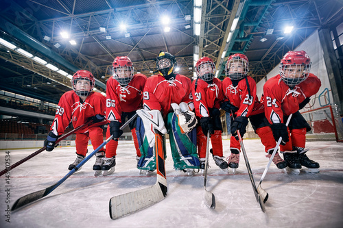 Youth hockey team - children play hockey.