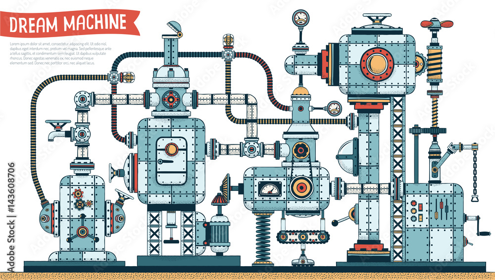 Fototapety, obrazy: Complex fantastic steampunk machine  -  color version with shadows. Vector illustration. Brush for shadows included.