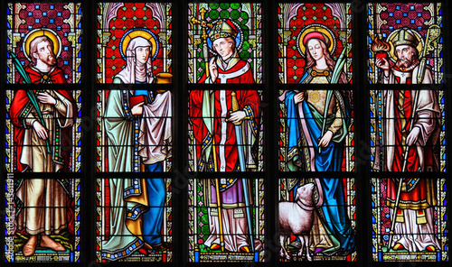 Fotografie, Obraz  Stained Glass - Saints Emilius, Joanna, Eugene, Agnes and Augustine