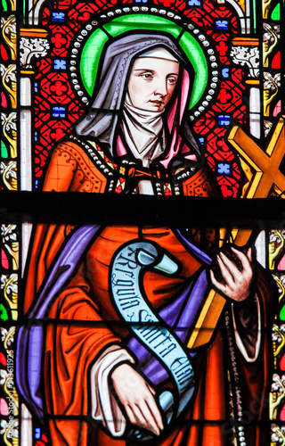 Stained Glass in Brussels Sablon Church - Saint Colette of Corbie Wallpaper Mural