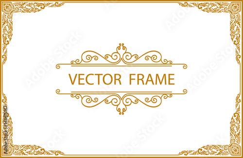 Fotografia  Gold photo frame with corner thailand line floral for picture, Vector design decoration pattern style