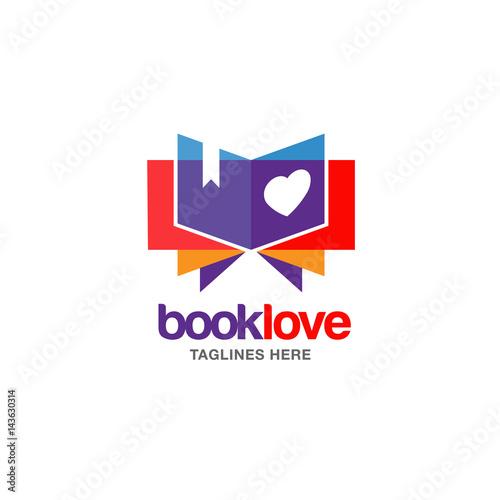 Creative book lover vector logo Wallpaper Mural