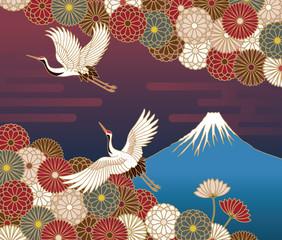 Panel Szklany Japoński 富士山、鶴と菊の花の伝統的和風模様