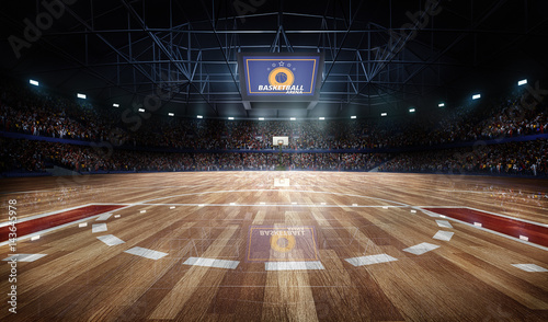 Fotografie, Obraz  Professional basketball court arena in lights with fans 3d rendering