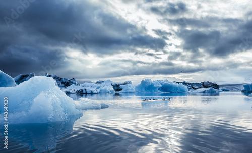 Foto op Plexiglas Arctica A Family of Ducks and blue ice at Icelake Jokulsarlon. Iceland