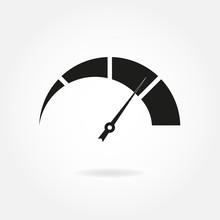 Speedometer Icon With Arrow. M...