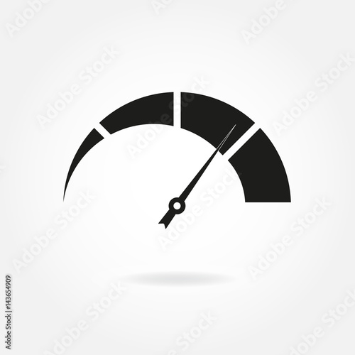Speedometer icon with arrow. Meter and gauge element. Vector illustration.