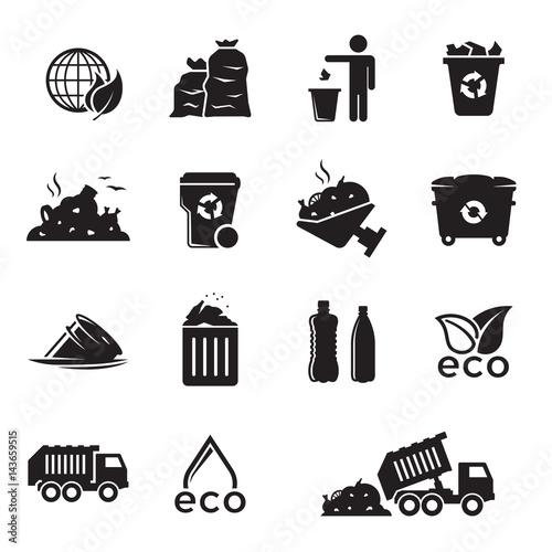 Garbage icons set Wall mural
