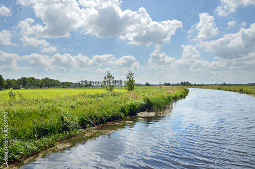 Foto Canalised river and cloudy sky in a Dutch Landscape in the province of Drenthe, The Netherlands
