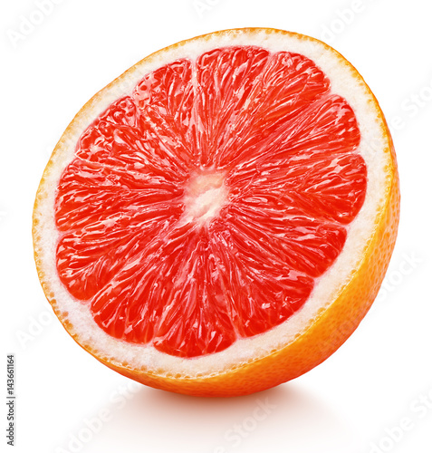 Ripe half of pink grapefruit citrus fruit isolated on white background with clipping path