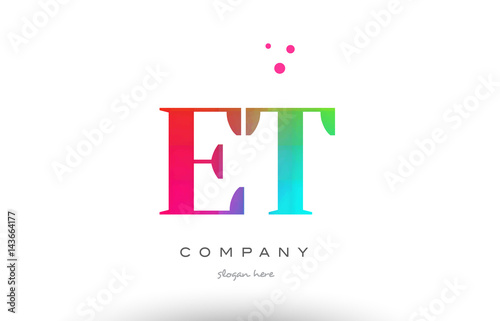 Photo  ET E T colored rainbow creative colors alphabet letter logo icon
