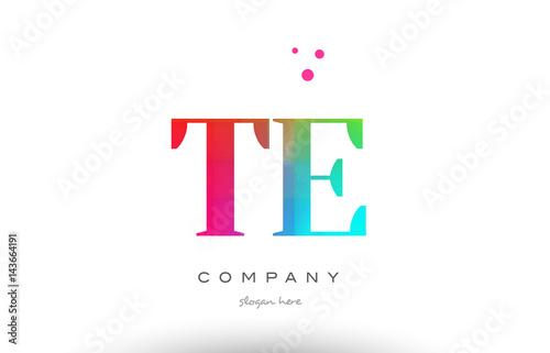 TE T E colored rainbow creative colors alphabet letter logo icon Poster