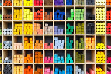 Multicolored Pastel Crayons In Store, Closeup View