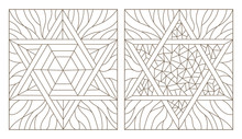 Set Contour Illustrations Of The Stained Glass Windows With Star Of David, Dark Outline On A White Background