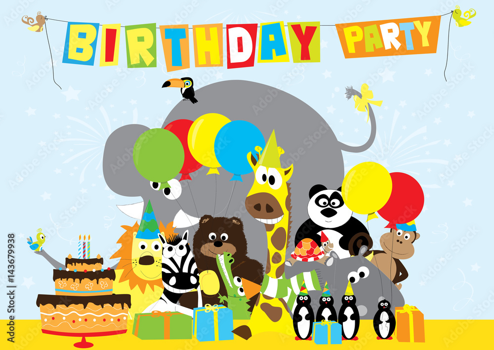 photo art print birthday party invitation with cartoon wild