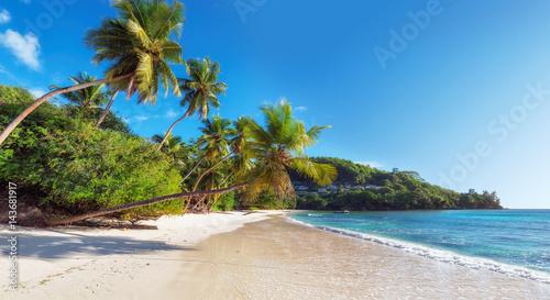 Deurstickers Tropical strand Paradise beach on Seychelles, Anse Takamaka, Mahe island.