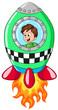 Junge in Rakete Vektor Illustration